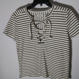 Madewell striped lace up top size small